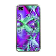 Violet Peacock Feathers, Abstract Crystal Mint Green Apple Iphone 4 Case (clear)
