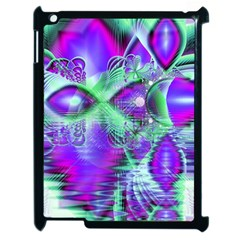 Violet Peacock Feathers, Abstract Crystal Mint Green Apple iPad 2 Case (Black)