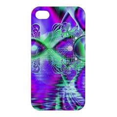 Violet Peacock Feathers, Abstract Crystal Mint Green Apple iPhone 4/4S Premium Hardshell Case