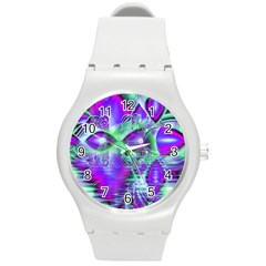 Violet Peacock Feathers, Abstract Crystal Mint Green Plastic Sport Watch (Medium)