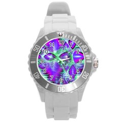 Violet Peacock Feathers, Abstract Crystal Mint Green Plastic Sport Watch (Large)
