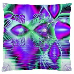 Violet Peacock Feathers, Abstract Crystal Mint Green Large Cushion Case (Two Sided)