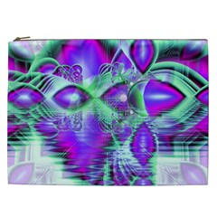 Violet Peacock Feathers, Abstract Crystal Mint Green Cosmetic Bag (XXL)