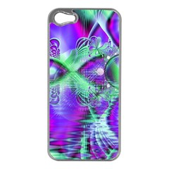 Violet Peacock Feathers, Abstract Crystal Mint Green Apple iPhone 5 Case (Silver)