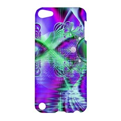 Violet Peacock Feathers, Abstract Crystal Mint Green Apple iPod Touch 5 Hardshell Case