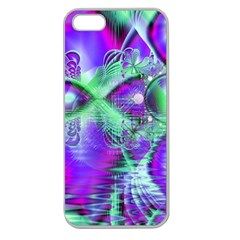 Violet Peacock Feathers, Abstract Crystal Mint Green Apple Seamless iPhone 5 Case (Clear)