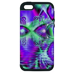 Violet Peacock Feathers, Abstract Crystal Mint Green Apple Iphone 5 Hardshell Case (pc+silicone)
