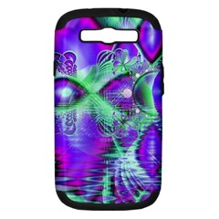 Violet Peacock Feathers, Abstract Crystal Mint Green Samsung Galaxy S III Hardshell Case (PC+Silicone)