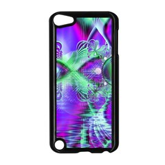 Violet Peacock Feathers, Abstract Crystal Mint Green Apple iPod Touch 5 Case (Black)