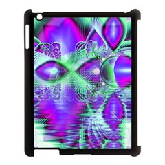 Violet Peacock Feathers, Abstract Crystal Mint Green Apple Ipad 3/4 Case (black)