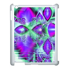 Violet Peacock Feathers, Abstract Crystal Mint Green Apple iPad 3/4 Case (White)