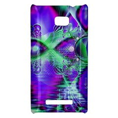Violet Peacock Feathers, Abstract Crystal Mint Green HTC 8X Hardshell Case