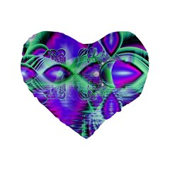 Violet Peacock Feathers, Abstract Crystal Mint Green 16  Premium Heart Shape Cushion