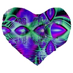 Violet Peacock Feathers, Abstract Crystal Mint Green 19  Premium Heart Shape Cushion