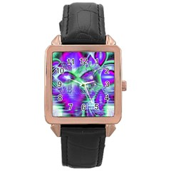 Violet Peacock Feathers, Abstract Crystal Mint Green Rose Gold Leather Watch