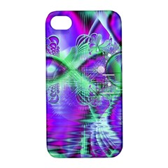 Violet Peacock Feathers, Abstract Crystal Mint Green Apple iPhone 4/4S Hardshell Case with Stand