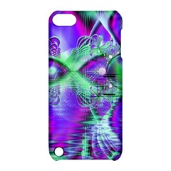 Violet Peacock Feathers, Abstract Crystal Mint Green Apple iPod Touch 5 Hardshell Case with Stand