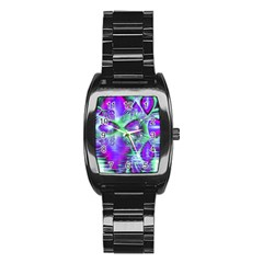 Violet Peacock Feathers, Abstract Crystal Mint Green Stainless Steel Barrel Watch