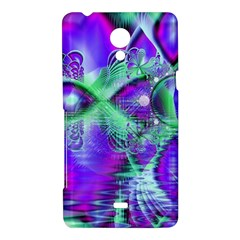 Violet Peacock Feathers, Abstract Crystal Mint Green Sony Xperia T Hardshell Case