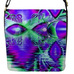 Violet Peacock Feathers, Abstract Crystal Mint Green Flap Closure Messenger Bag (Small)