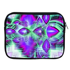 Violet Peacock Feathers, Abstract Crystal Mint Green Apple iPad Zippered Sleeve