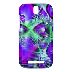Violet Peacock Feathers, Abstract Crystal Mint Green HTC One SV Hardshell Case