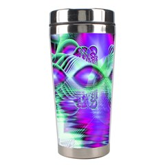 Violet Peacock Feathers, Abstract Crystal Mint Green Stainless Steel Travel Tumbler