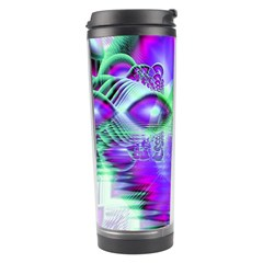 Violet Peacock Feathers, Abstract Crystal Mint Green Travel Tumbler