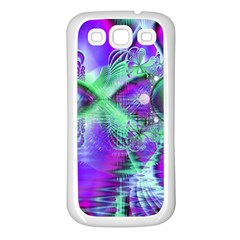 Violet Peacock Feathers, Abstract Crystal Mint Green Samsung Galaxy S3 Back Case (White)