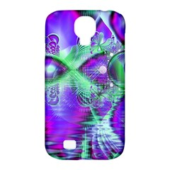 Violet Peacock Feathers, Abstract Crystal Mint Green Samsung Galaxy S4 Classic Hardshell Case (PC+Silicone)
