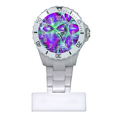 Violet Peacock Feathers, Abstract Crystal Mint Green Nurses Watch