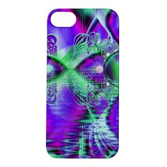 Violet Peacock Feathers, Abstract Crystal Mint Green Apple iPhone 5S Hardshell Case