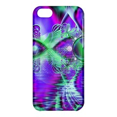 Violet Peacock Feathers, Abstract Crystal Mint Green Apple iPhone 5C Hardshell Case