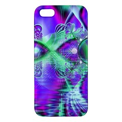 Violet Peacock Feathers, Abstract Crystal Mint Green iPhone 5S Premium Hardshell Case