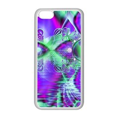 Violet Peacock Feathers, Abstract Crystal Mint Green Apple iPhone 5C Seamless Case (White)