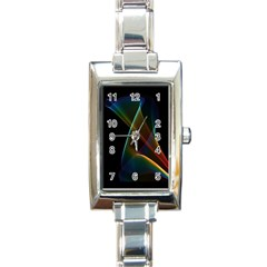 Abstract Rainbow Lily, Colorful Mystical Flower  Rectangular Italian Charm Watch