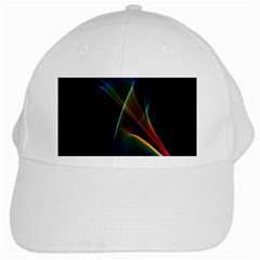 Abstract Rainbow Lily, Colorful Mystical Flower  White Baseball Cap