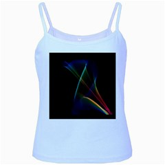 Abstract Rainbow Lily, Colorful Mystical Flower  Baby Blue Spaghetti Tank