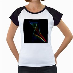 Abstract Rainbow Lily, Colorful Mystical Flower  Women s Cap Sleeve T-Shirt (White)