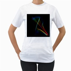 Abstract Rainbow Lily, Colorful Mystical Flower  Women s Two-sided T-shirt (White)