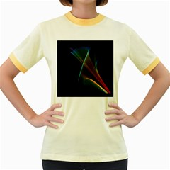 Abstract Rainbow Lily, Colorful Mystical Flower  Women s Ringer T-shirt (Colored)
