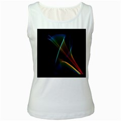 Abstract Rainbow Lily, Colorful Mystical Flower  Women s Tank Top (White)