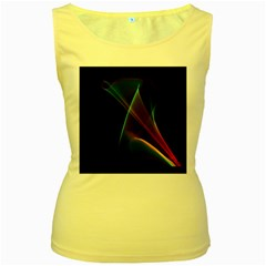 Abstract Rainbow Lily, Colorful Mystical Flower  Women s Tank Top (Yellow)