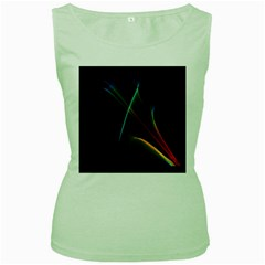 Abstract Rainbow Lily, Colorful Mystical Flower  Women s Tank Top (Green)