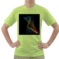 Abstract Rainbow Lily, Colorful Mystical Flower  Men s T-shirt (Green)