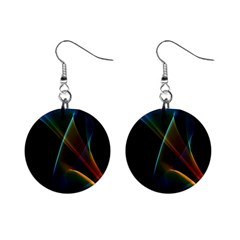 Abstract Rainbow Lily, Colorful Mystical Flower  Mini Button Earrings