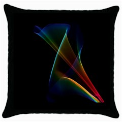 Abstract Rainbow Lily, Colorful Mystical Flower  Black Throw Pillow Case
