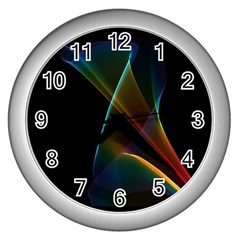 Abstract Rainbow Lily, Colorful Mystical Flower  Wall Clock (Silver)
