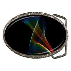 Abstract Rainbow Lily, Colorful Mystical Flower  Belt Buckle (oval)