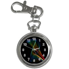 Abstract Rainbow Lily, Colorful Mystical Flower  Key Chain Watch